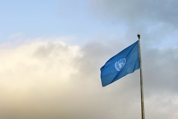 UN Flag on Opemnoing of GA 66 Session