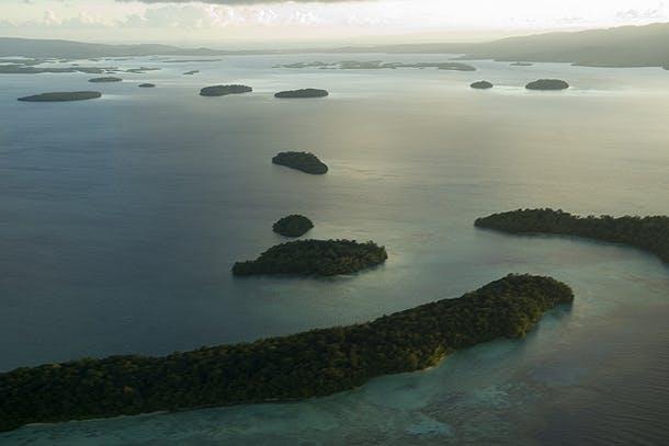 Aerial View of Marovo Lagoon, Solomon Islands