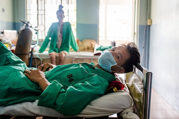 Regaining Strength through Effective Treatment and Care PHOTO FROM THE FIELD (24 SEPTEMBER 2015) - In Ho Chi Minh City, Viet Nam, a weightlifter is treated for multidrug-resistant tuberculosis at a dedicated hospital supported by Global Fund grants. Each day, he takes more than ten pills to combat the disease. Compared to a six-month regimen for TB cured by standard treatment, curing multidrug-resistant TB takes up to 24 months, and side effects of the medications can be hard on the patient. In two weeks he will pass the highly infectious stage, and will able to go home to be cared for by his family. Although much more needs to be done, globally the number of people being treated for multidrug-resistant forms of TB has increased nearly four-fold since 2010, reaching 210,000, thanks to programs supported by the Global Fund. For more information about Global Fund-supported programs, please visit our website: www.theglobalfund.org For more information about Global Fund photos, please e-mail: photos@theglobalfund.org Copyright: The Global Fund / Ryan Quinn Mattingly