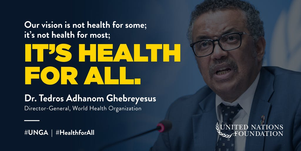 Tedros Universal Health Coverage Quote Graphic