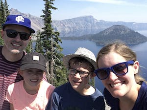 Abner and his family at Crater Lake, Oregon.