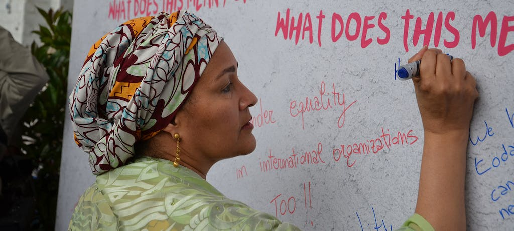 Amina Mohammed Signs A Wall