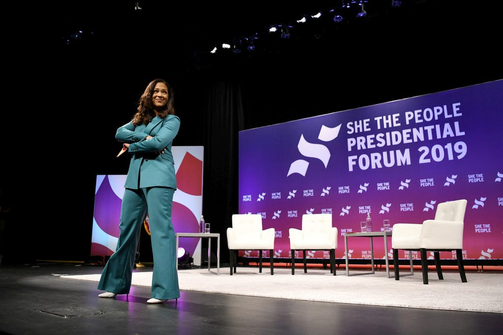Aimee Allison, founder and president of the She the People organization, kicks off the She the People Presidential Forum in Houston