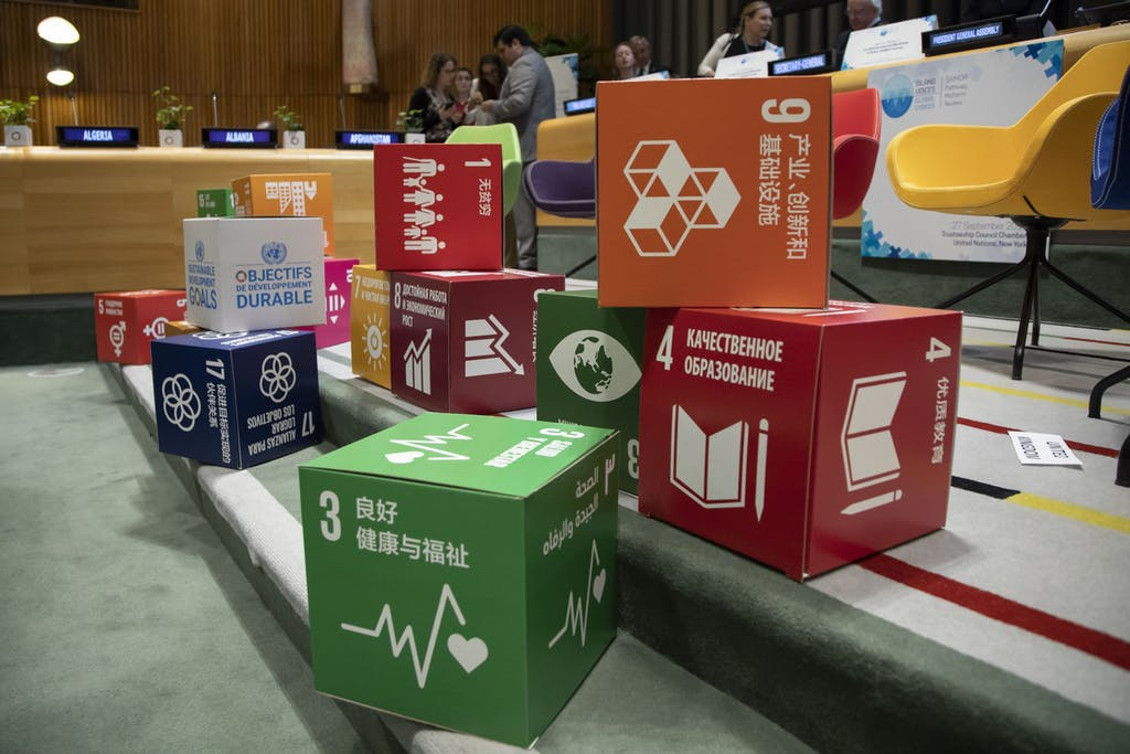 A view of the Sustainable Development Goal (SDG) cubes at the venue.