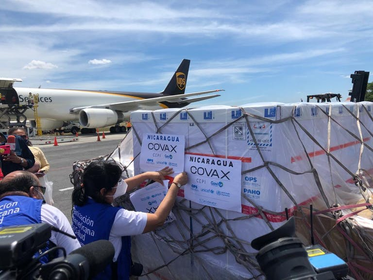 COVAX vaccine delivery on tarmac