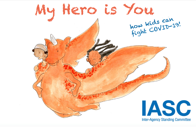 Book cover of a two children on a dragon. Text says: My Here is You, how kids can fight COVID-19