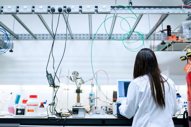 Woman in engineering lab