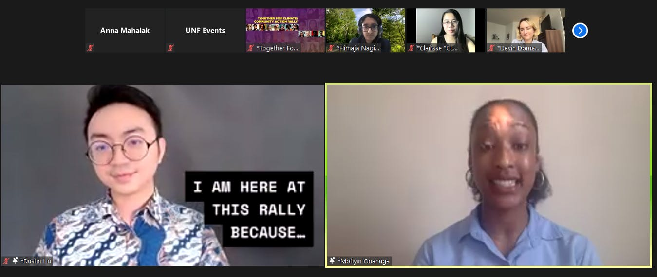 Dustin Liu hosts a panel during the 2021 Earth Day Rally